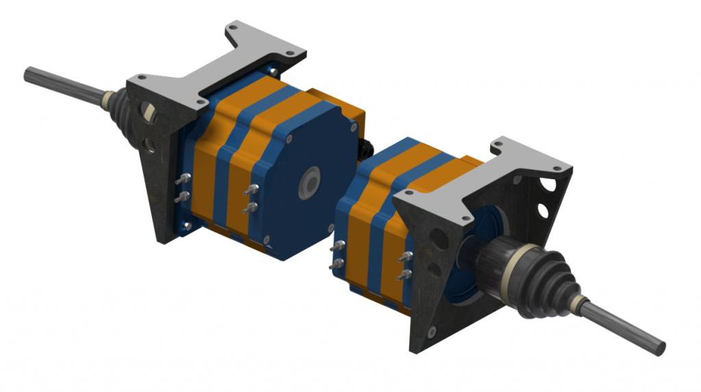 Вариант заднего ведущего моста электромобиля с использованием безредукторного электропривода на модулях серии iEM-05w