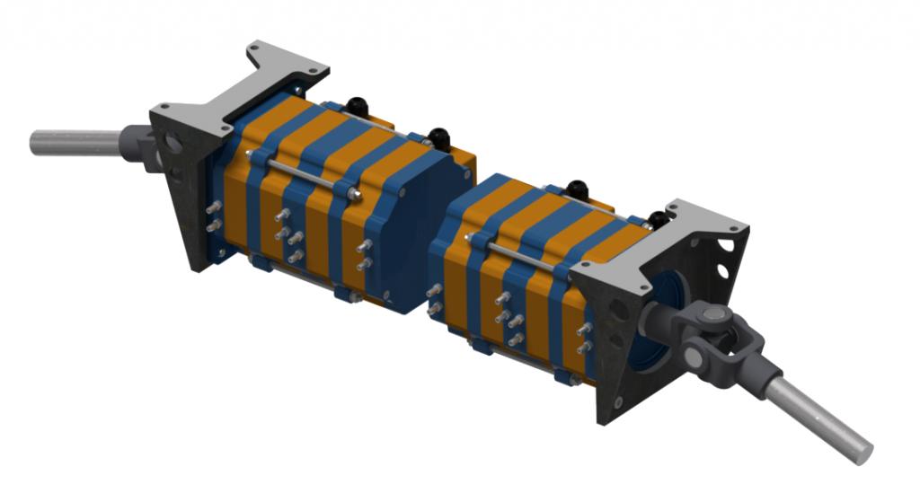 Вариант заднего ведущего моста электромобиля удвоенной мощности на модулях серии iEM-05w